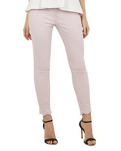 Ted Baker - Massiee Embroidered-Hem Skinny Jeans in Nude Pink