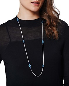 JOHN HARDY - Sterling Silver Classic Chain Station Necklace with Aquamarine & Kyanite, 36""