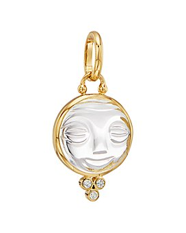 Temple St. Clair - 18K Yellow Gold Medium Carved Crystal Moonface Pendant with Diamonds