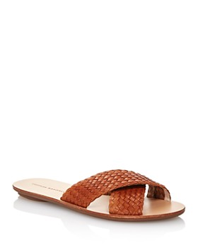 25d836278e98ed Loeffler Randall - Women s Claudie Metallic Woven Leather Slide Sandals ...