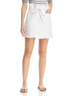 7 For All Mankind - Frayed Denim Skirt in White - 100% Exclusive