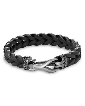 JOHN HARDY - Sterling Silver & Black Leather Classic Chain Braided Cord Bracelet