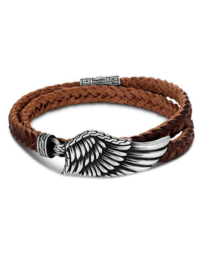 Sterling Silver Legends Eagle Leather Double Wrap Bracelet