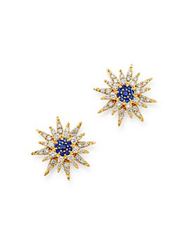 Bloomingdale's - Blue Sapphire & Diamond Starburst Earrings in 14K Yellow Gold - 100% Exclusive
