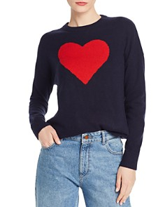 Minnie Rose - Intarsia-Heart Cashmere Sweater