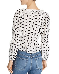 For Love & Lemons - Willow Heart Print Peplum Top
