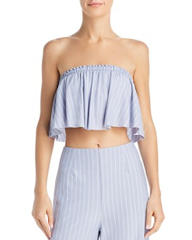 Sage the Label - Wild One Striped Strapless Cropped Top