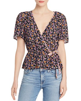 Band of Gypsies - Nashville Floral Faux-Wrap Blouse