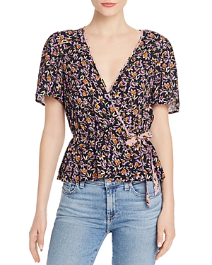 Band Of Gypsies Tops BAND OF GYPSIES NASHVILLE FLORAL FAUX-WRAP BLOUSE