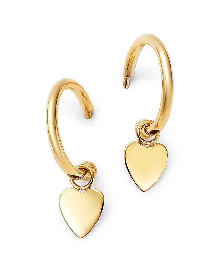 Moon & Meadow - 14K Yellow Gold Small Dangling Heart Hoop Earrings - 100% Exclusive