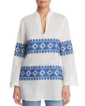 b4a6ee19a8db8 Tory Burch - Stephanie Embroidered Tunic Top ...