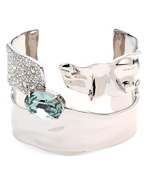 Alexis Bittar Accessories CRYSTAL ENCRUSTED CRUMPLED SOLITAIRE CUFF BRACELET