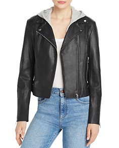 AQUA - Faux-Leather Moto Jacket - 100% Exclusive