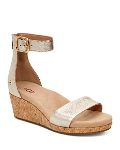 UGG® - Women's Zoe II Metallic Leather Cork Wedge Ankle Strap Sandals