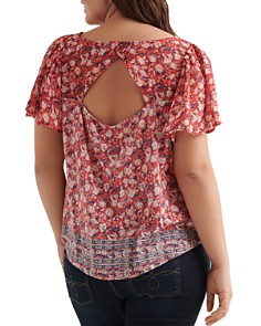 Lucky Brand Plus - Floral Border Print Top