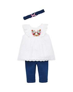 Little Me - Girls' Bouquet Eyelet Tunic, Leggings & Headband Set - Baby