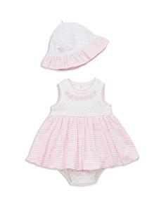 Little Me - Girls' Pink Floral Appliqué Bodysuit-Dress & Sun Hat Set - Baby