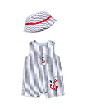 b52041a299f Little Me - Boys  Anchor Seersucker Overalls   Sun Hat Set - Baby