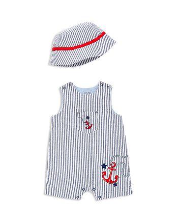 Little Me - Boys' Anchor Seersucker Overalls & Sun Hat Set - Baby