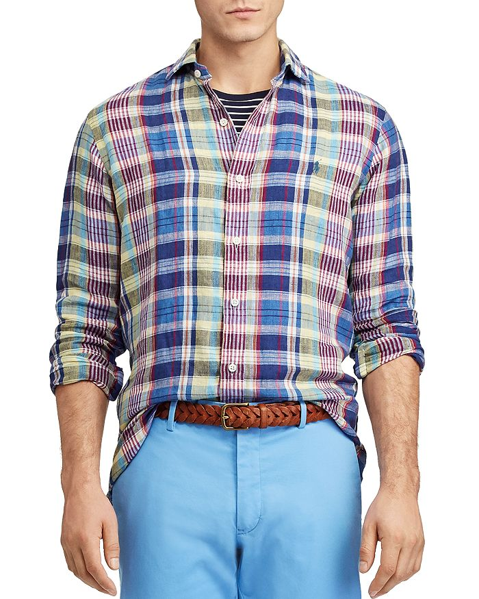 50fefb09 Plaid Classic Fit Linen Shirt