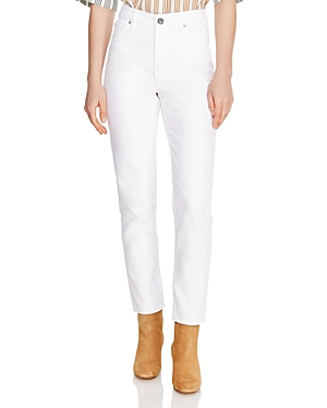 Sandro Romaric Cropped High Rise Straight-Leg Jeans in White