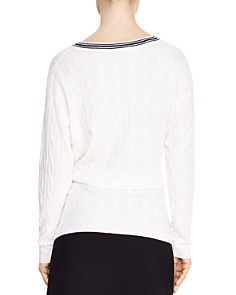 Sandro - Emma Tie-Detail Cable-Knit Sweater