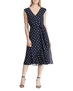 Ralph Lauren - Faux-Wrap Polka-Dot Dress