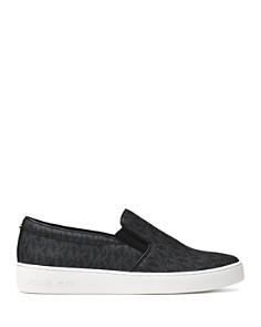 MICHAEL Michael Kors - Women's Keaton Leather Logo Print Slip-On Sneakers