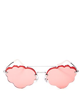 Miu Miu - Women's Brow Bar Scalloped Round Sunglasses, 55mm