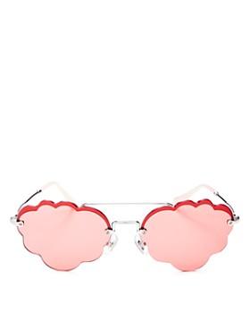 6a977959b Miu Miu - Women's Brow Bar Scalloped Round Sunglasses, ...