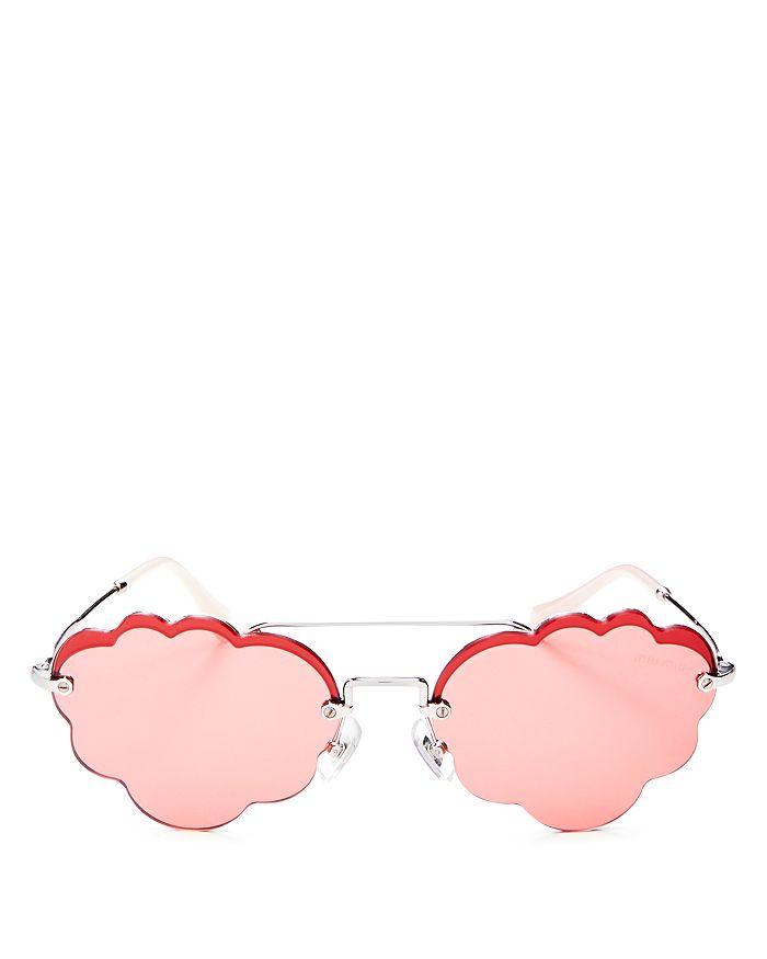 58926feec Miu Miu Women's Brow Bar Scalloped Round Sunglasses, 55mm ...
