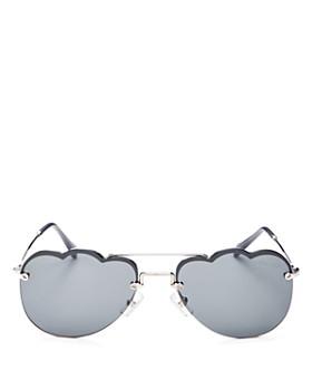 075278b5c Miu Miu - Women's Mirrored Brow Bar Scalloped Aviator Sunglasses, ...