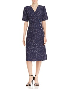 AQUA - Dot Print Midi Wrap Dress - 100% Exclusive