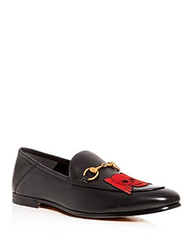 Gucci - Embroidered Leather Convertible Apron-Toe Loafers