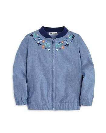 Mini Series - Girls' Embroidered Chambray Bomber Jacket, Little Kid - 100% Exclusive