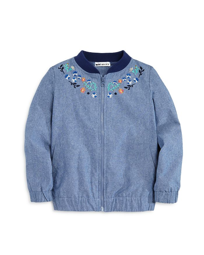 0c9312261084 Mini Series - Girls  Embroidered Chambray Bomber Jacket