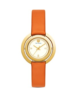 Tory Burch - The Grier Orange Leather Strap Watch, 26mm