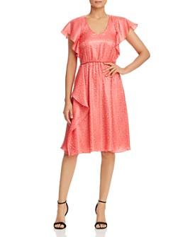 Armani - Ruffled Animal-Pattern Jacquard Dress
