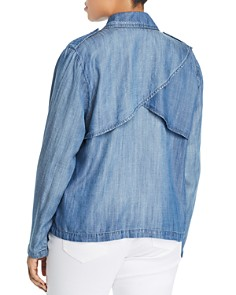 Bagatelle Plus - Chambray Open Front Jacket