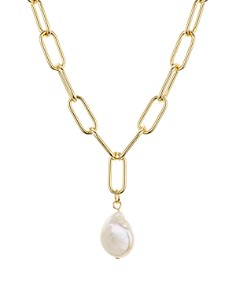 "AQUA - Large Link Cultured Freshwater Pearl Pendant Necklace, 16"" - 100% Exclusive"