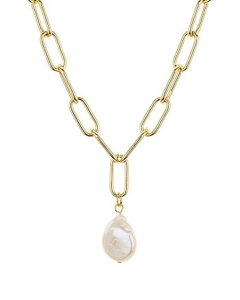"""AQUA - Large Link Cultured Freshwater Pearl Pendant Necklace, 16"""" - 100% Exclusive"""