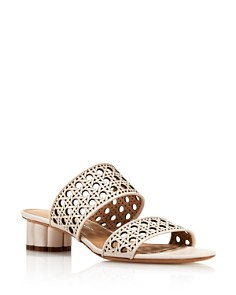 Salvatore Ferragamo - Women's Woven Leather Flower Heel Sandals