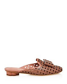 Salvatore Ferragamo - Women's Sciacca Woven Leather Flower Heel Mules