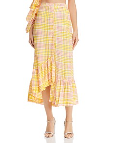 S/W/F - Asymmetric Plaid Midi Skirt