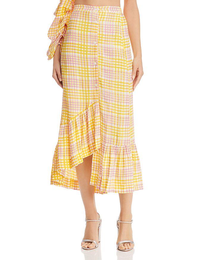 S/W/F - Asymmetric Plaid Midi Skirt