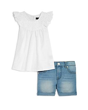 7 For All Mankind Girls Eyelet Top  Denim Shorts Set  Little Kid