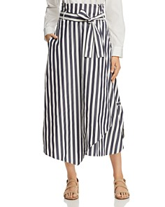 Weekend Max Mara - Biella Asymmetric Striped Cotton Midi Skirt
