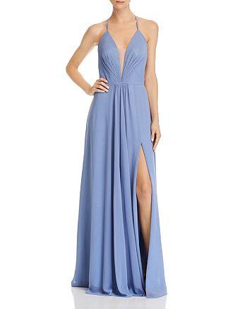 AQUA - Lace-Up Chiffon Gown - 100% Exclusive