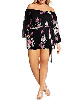 728bb92538f City Chic Plus - Off-the-Shoulder Floral-Print Romper ...