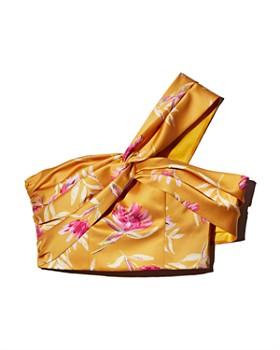 Amur - Radiant Floral-Print One-Shoulder Cropped Top